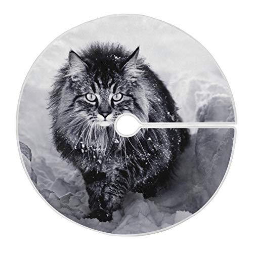 ART VVIES Gonna Albero di Natale Allegro 36 Pollici Personalizzata per Decorazioni Natalizie per Feste Natalizie - Un Gatto delle foreste Norvegesi nella Neve