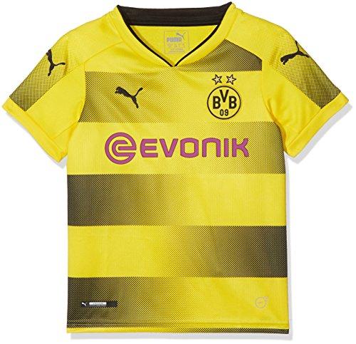 PUMA Kinder Fußball T-Shirt BVB Kids Home Replica Shirt with Sponsor Logo, Cyber Yellow-Puma Black, 176, 751681 01