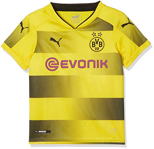 PUMA Kinder BVB Kids Home Replica Shirt with Sponsor Logo Fußball T, Cyber Yellow Black, 164