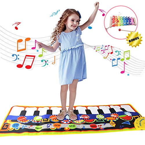 BAISIQI Piano Music Dance Mat for Kids with Xylophone Toy Gifts for 2-4 Year Old Girls Boys Toddler Toy Musical Playmat for Baby Educational Electronic Game Presents for Christmas Birthday
