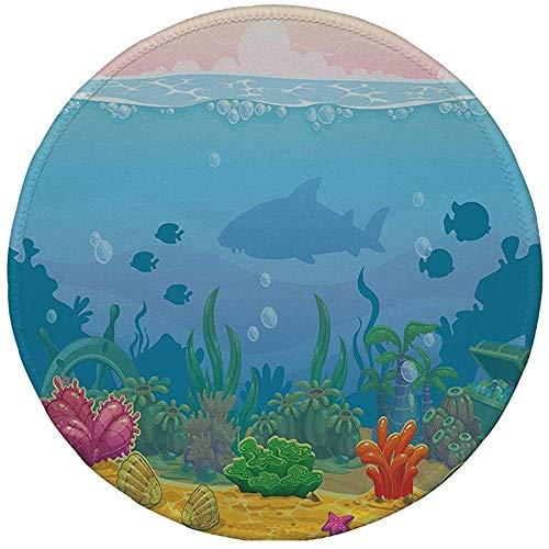 Rubber Ronde Muis Pad,Aquarium,Rijk Onder De Zee Landschap Vissen Silhouetten Kleurrijke Exotische Planten en Schelpen Decoratief