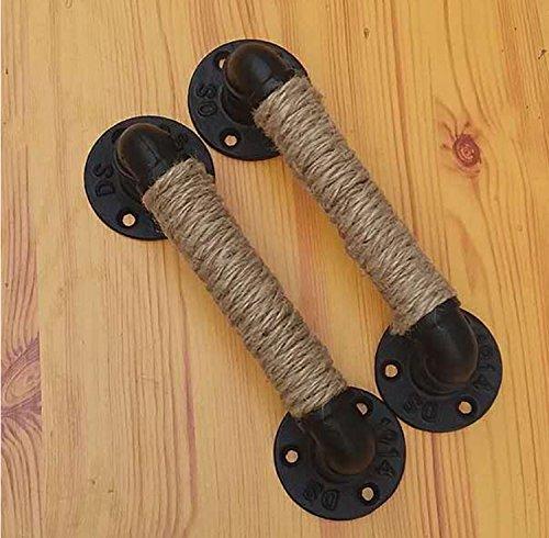 Raing 2 Pakete Schmiedeeisen Hanfseil Türgriff Loft Vintage Industrial Style/Wasserrohr/Griff Große Schrank Holztür Storehouse Tür Dekoration Kreative Lenker, 28cm