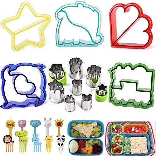 Iindes Sandwich Cutter 23 Stück für Bento Ausstecher- 5 Stck Brotformen +8 Stck Edelstahlschneider mit 10 tierischen Essenspieße