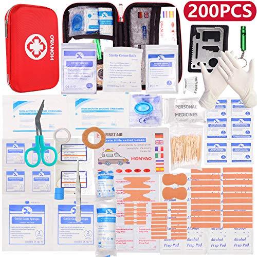HONYAO Erste-Hilfe Set, Medizinisch Überlebens Kompakt Kit mit Leicht Harte Box für Auto Motorrad Zuhause Arbeitsplatz Draussen Camping Wandern Notfall Erste Hilfe