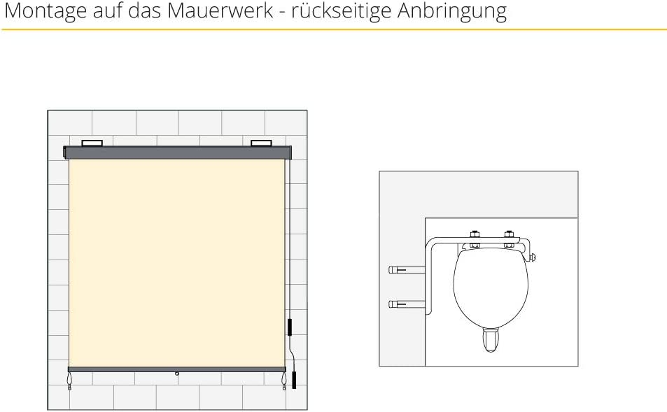 120 x 250 cm paramondo Au/ßenrollo Senkrechtmarkise Balkonmarkise Balkonrollo Sonnenschutz mit Kassette /& Kurbelbedienung grau