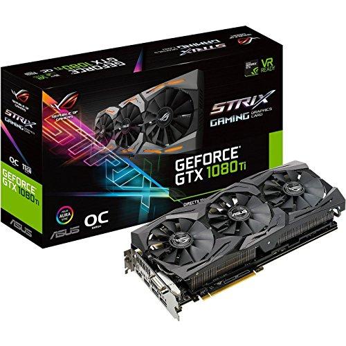 ASUS ROG-STRIX-GTX1080TI-O11G-GAMING GeForce 11GB OC Edition VR Ready 5K HD Gaming HDMI DisplayPort DVI Overclocked PC GDDR5X Graphics Card (Renewed)