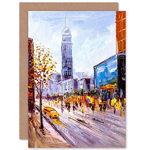 Wee Blue Coo New York Cityscape Schilderij Wenskaart Met Envelop Binnen Premium Kwaliteit