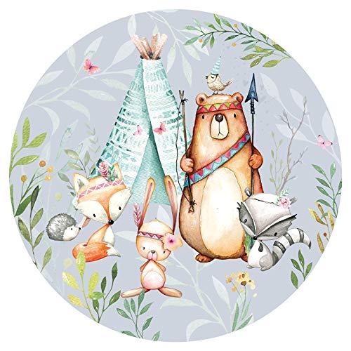 Little Deco runder Wandaufkleber Waldtiere & Bär mit Pfeil und Bogen I Wandbild 120 cm Ø I Zelt Wandsticker Kinder Wandtattoo Babyzimmer Kinderzimmer Deko DL570