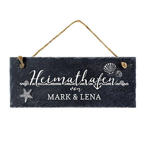 Casa Vivente Schiefertafel mit Gravur – Heimathafen – Personalisiert mit [Namen] – Türschild zum Aufhängen – Namensschild als Geschenkidee für Ehepaare und Familien zum Einzug – 25 x 10 cm