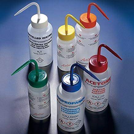 Multi-Lingual Red Screwcap Safety Vented Globe Scientific WGW537VTML-GHS1 Low-Density Polyethylene Wash Bottle Acetone 500 mL