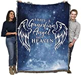 I Have A Guardian Angel in Heaven - Sympathy - Cotton Woven Blanket Throw - Made in The USA (72x54)