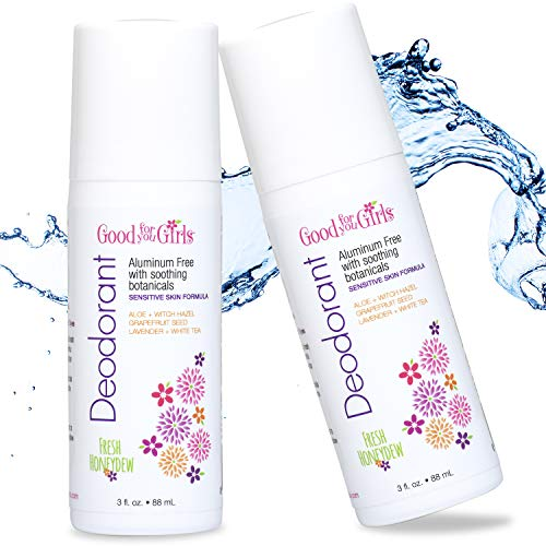 Good For You Girls Aluminum Free Natural Deodorant 2 PACK (3 fl oz ea) for Kids, Teens, Tweens, Vegan (Fresh Honeydew Scent)