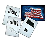 UMR-Design AS-077 USA Flag Airbrush Stencil Template Step by Step Size M