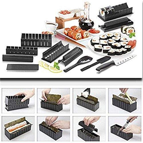 Silicone Bakeware Kit de fabrication de sushi avec 10 moules en silicone noir