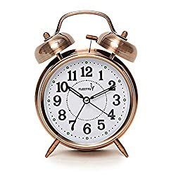 FLOITTUY {Loud Alarm for Deep Sleepers} 4'' Twin Bell Alarm Clock with Backlight for Bedroom and Home Decoration(Red-Brown)