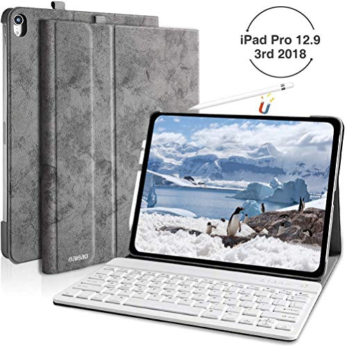 iPad Pro 12.9 Case with Keyboard for iPad 12.9 2018 3rd Gen(Model Number: A1876/A2014/A1895), Detachable Keyboard Case for iPad Pro 12.9 2018,Support Apple Pencil Charging