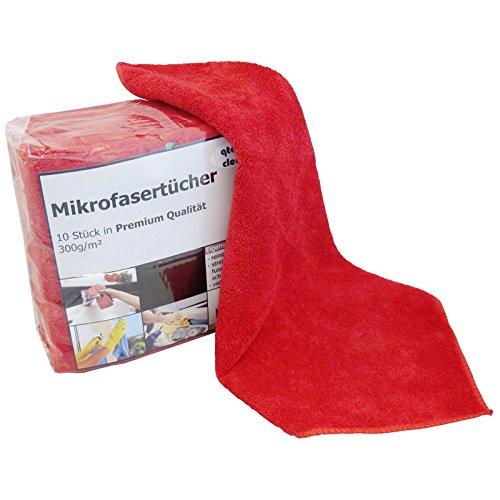 Premium Microfasertuch 40x40 cm 10er Pack Farbe nach Wahl Mikrofasertücher Putzlappen (rot)