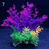 12 tipos de plantas decorativas artificiales para acuarios, plantas acuáticas decorativas de plástico, accesorios decorativos para acuario, 14 cm (color: 7, tamaño: 8 x 14 cm)