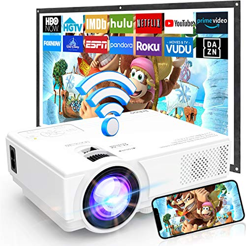 [WiFi Beamer] Beamer Full HD M8-TPA, Mini Beamer 6000 Lumens, Video Beamer Unterstützt 1080P Full HD, Wireless Projektor Kompatibel mit TV Stick Smartphone Tablet HDMI VGA USB AV für Heimkino.