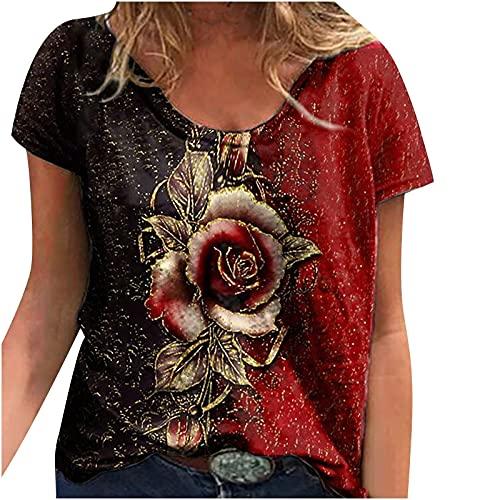 Camiseta de manga corta para mujer, estilo retro, sexy, vintage, grande, con estampado de rosas, para verano, informal, moderna, básica, para mujeres, adolescentes, niñas, tallas grandes, rojo, S
