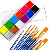Face Body Paint Oil Palette Kit, 12 Colors UV Glow Neon Face Painting with 10 PCs Brushes, Safe Facepaints Body Art for Adults and Kids Ideal for Halloween, Cosplay Costumes, Parties and Festivals…