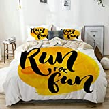 Juego de Funda nórdica Beige, Inspirador Run for Run Quote Print, Decorativo Juego de Ropa de Cama de 3 Piezas con 2 Fundas de Almohada Fácil de cuidar Anti-alérgico Suave Suave