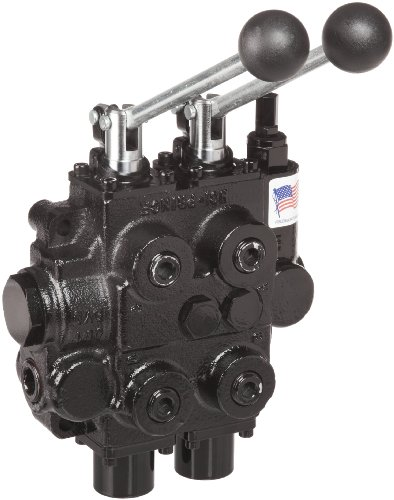 Prince RD522CCAA5A4B1 Directional Control Valve, Two Spool, 4 Ways, 3 Positions, Tandem Center, Cast Iron, 3000 psi, Lever Handle, 25 gpm, In/Out: 3/4' NPTF, Work 1/2' NPTF