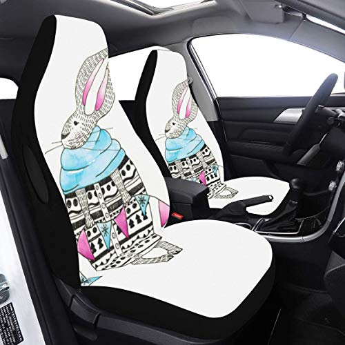 Auto Seat Covers Rabbit with Bunting Flag Cover for Kids Car 2 Pcs Universal Fit Airbag Compatible for for Car SUV Auto Truck Car Carseat Cover