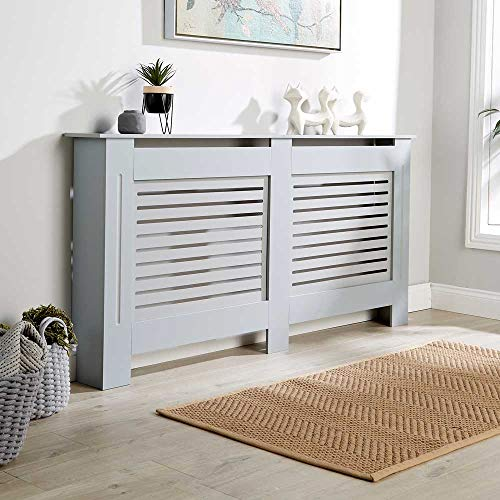 Home Source Radiator Cover Wooden MDF Wall Cabinet Shelf Slatted Grill, Grey, Extra Large