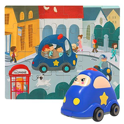 Nene Toys - Puzzle in Legno per Bambini + Auto Giocattolo per Bambini e Bambine da 2 a 6 Anni – Gioco Educativo e Didattico 2 in 1 per Lo Sviluppo Cognitivo di Bambini in età Prescolare [Polizia]