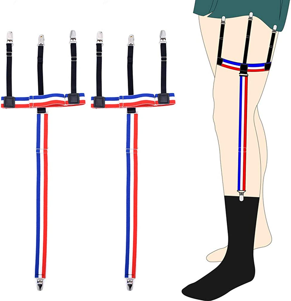 Assemblable Trident Striped Shirt Stays Garter Straps Sock&Non-slip Locking Clip