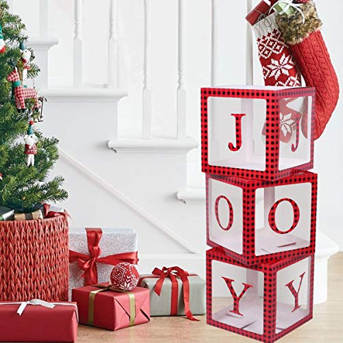 Christmas Decorations Red and Black Buffalo PlaidTransparent Joy Box Joy Blocks Decorations for Holiday Party Decorations, Home Decor, Fireplace Decor by QIFU