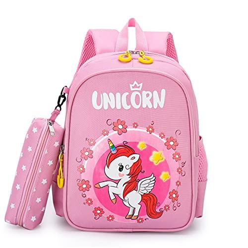 N\A - Mochila escolar para niña, primaria de nailon, diseño de unicornio dinosaurio rosa Talla única