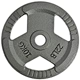 2-inch Olympic Grip Plate Solid Cast Iron Weight Plate in Pairs or Single, Standard Barbell Weight Set for Home Gym Strength Training Workouts Weightlifting Crossfit, 5-45lbs (22 LB X 1)