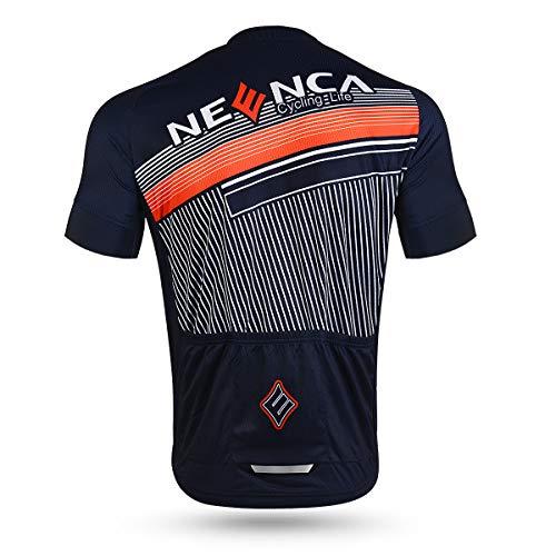 NEENCA Herren Radtrikot Fahrradtrikot Kurzarm Sport T- Shirt Schnelltrockendes Atmungsaktives Elastisches Radshirts mit DREI Rückentaschen und Reißverschluss aus Polyester - 8