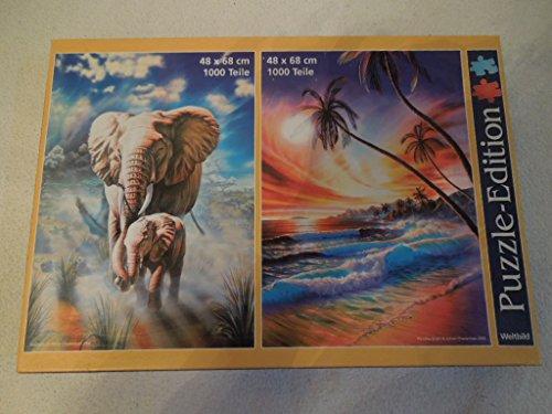 Unbekannt Puzzle-Edition Elephants/ Paradise Beach 2x1000-tlg.