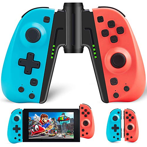 Joy Con Controller Replacement Campatiable for Nintendo Switch - Left and Right Neon Joy Pad with Wrist Strap, Alternatives for Nintendo Switch Controllers, Wired/Wireless L/R Switch Remotes