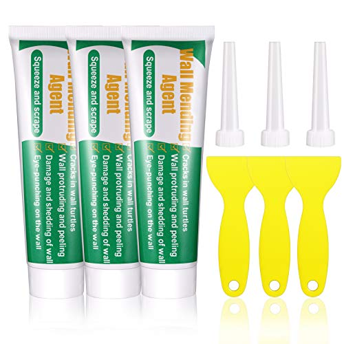 Wall Mending Agent, Microbuy Wall Repair Cream Repair Paste Set, Safe Non-Toxic, Quick & Easy Solution to Fill The Holes and Crack in Wall Surface, Waterproof (3pcs)
