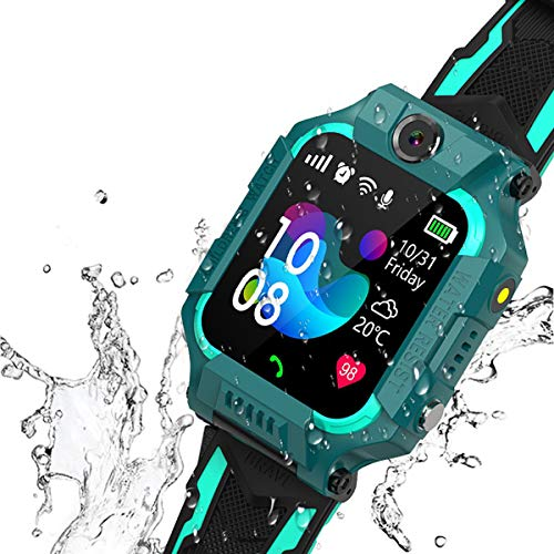 "Kids Smartwatch Phone IP67 Waterproof Boys Girls 4-12 Age Smart Watch with SOS Calling Alarm Clock 360° Rotation Dual Cameras 1.44"" Touch Screen Children Learning (Green)"