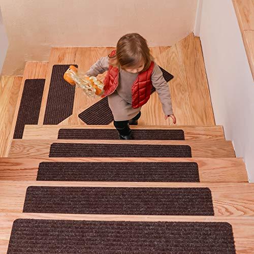 DanceWhale Lot de 15 Tapis de Marche d'escalier antidérapants adhésifs pour Enfants, Personnes âgées et Animaux domestiques (20,3 x 76,2 cm), Marron, 8 * 30 inches - 2pcs