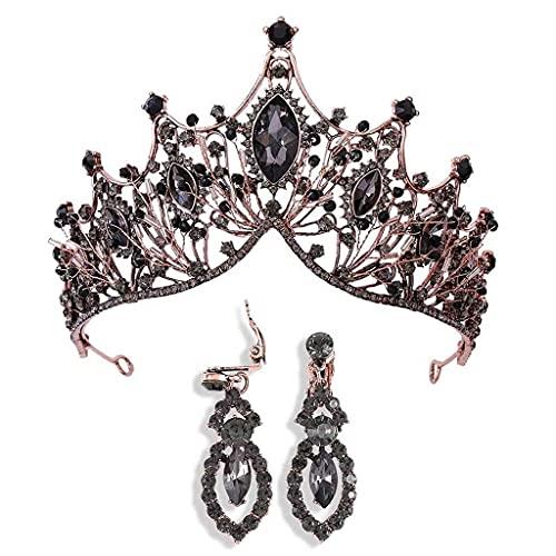 Crown y Tiaras de la Vendimia con el Pendiente de Cristal Barroco Tocado de la joyería Nupcial Accesorios para el Cabello Joyería de la Boda Conjunto para Mujeres y niñas (púrpura) (Color : Schwarz)