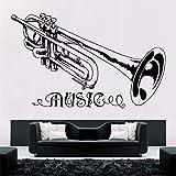 Trompete Musik Wandaufkleber Abnehmbare Musik Stil Wandtattoo Konzert Dekoration Design Poster Vinyl Trumpt Kunstwand Decor 68X42 Cm