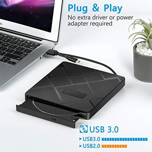 Externes CD Laufwerk, BEVA USB 3.0 & Typ C DVD Laufwerk mit SD/TF Karte Reader CD DVD RW Brenner Tragbarer 2 USB Ports Laufwerk für Laptop, Desktop Mac, iOS, MacBook, Windows 10/8/7 / XP/Vista/Linux