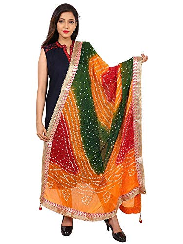 beriya fashion Women's Silk Bandhej Multicolor Dupatta(Multicolor)
