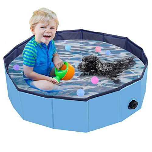 Hundepool Schwimmbad Für Hunde und Katzen, Hund Planschbecken Hundebadewanne Faltbarer Pool Haustier Pool Planschbecken, Klappbares Haustier-Duschbecken mit PVC-rutschfest Schwimmen Pool für Kinder