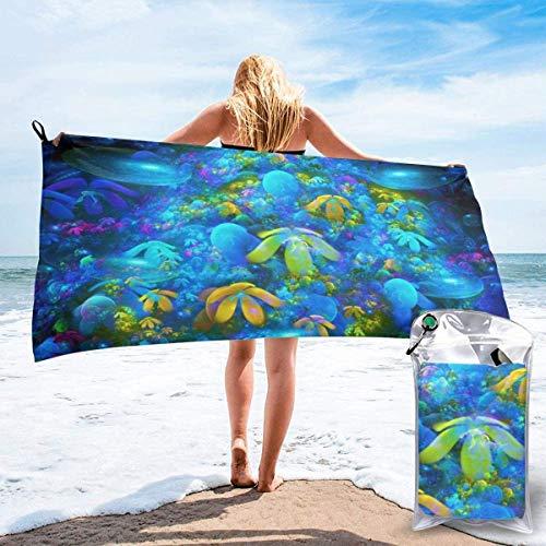 Toalla de Playa 27.5 'X 55',Coral Reef Arena Ultra Suave Microfibra Portátil Absorbente de Agua Microfibra múltiple Sin Arena Toalla de Playa Manta