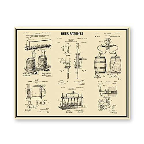 WJY Amante de la Cerveza Regalo Impresiones de Patentes Cerveza Artesanal Taza Stein elaboración de Cerveza Carteles artísticos de Pared manija de Grifo de Cerveza Modelo Lienzo Pintura Bar Decor