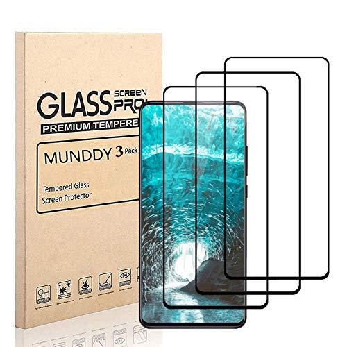 MUNDDY - Pack DE 3 Protectores de Pantalla Completa para Xiaomi Mi 9T / Xiaomi Mi 9T Pro Dureza de 9H sin Burbujas .Full Cover Cristal Vidrio Templado Completa con Bordes Redondeados. Negro Full Glue