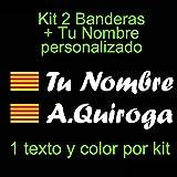 Vinilin - Pegatina Vinilo Bandera Cataluña + tu Nombre - Bici, Casco, Pala De Padel, Monopatin, Coche, etc. Kit de Dos Vinilos (Blanco)