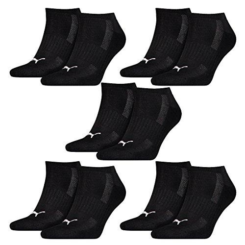 PUMA 10 Paar Sneaker Socken mit Frottee-Sohle Gr. 35-46 Unisex Cushioned Kurzsocken, Farbe:200 - black, Socken & Strümpfe:43-46